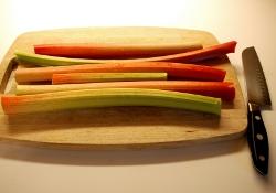 Rhubarb cut and cleaned