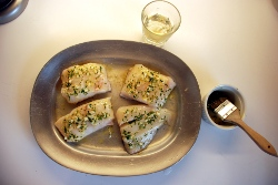 Halibut with Winter savory brush-on