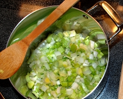 Leeks cooking for soup