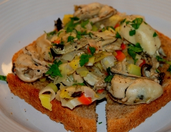 Leeks and oysters on toast