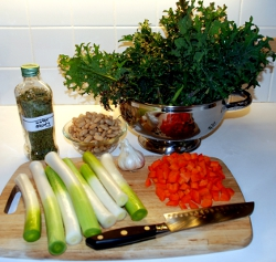 Kale and leek soup ingredients