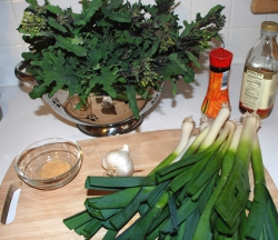 Kale flower stirfry ingredients