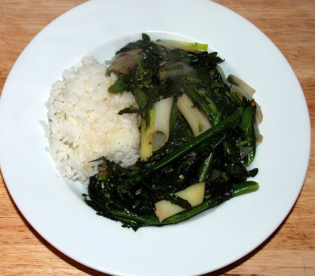 Kale flower stirfry served