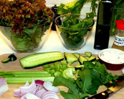 Salad with celery, ingredients